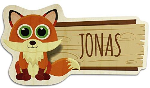 printplanet Türschild aus Holz mit Namen Jonas - Motiv Fuchs - Namensschild, Holzschild, Kinderzimmer-Schild