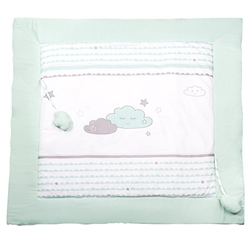 roba Tapis d'éveil 'Happy Cloud', 100x100cm, côté supérieure: 100% coton, côté postérieure: 35% coton, 65% polyester, avec éléments de jeu.