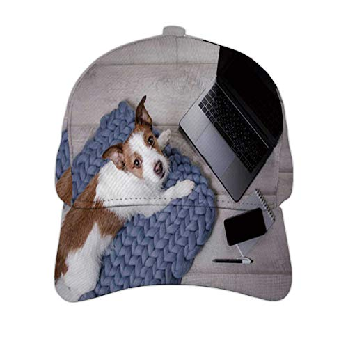 Little Dog at The Laptop on Floor Russell - New Zealand,Hats & Caps Dad Hat Baseball Cap for Men,Wo