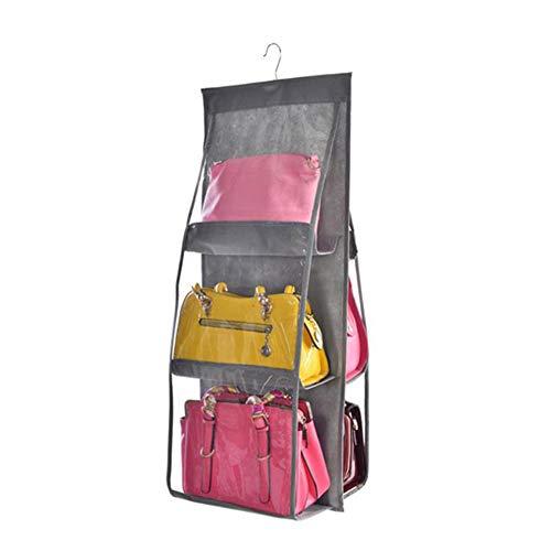 ZZXS Kosmetiktasche 6 Taschenbehang Aufbewahrungstaschen Organizer-Kleiderschrank mit großer Kapazität Transparente Aufbewahrungstasche Türwand Verschiedene Schuhtaschen Kleiderbügel-TascheGrau