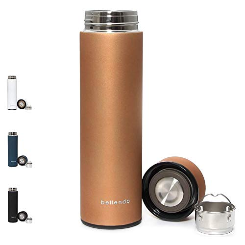 bellendo® Edelstahl Isolierflasche klein 0,5 l - Kleine Design Isolierkanne Teeflasche 500ml - Kaffee und Tee to Go Flasche mit Teesieb, Gold