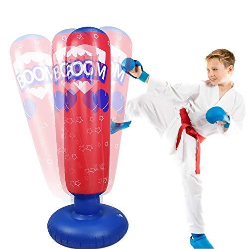 Rehomy Saco de Boxeo de 125 Cm Saco de Boxeo Inflable para Niños Saco de Boxeo de Rebote Inmediato de Pie Libre para La Práctica del Ejercicio Físico Karate de Kickboxing para Aliviar El