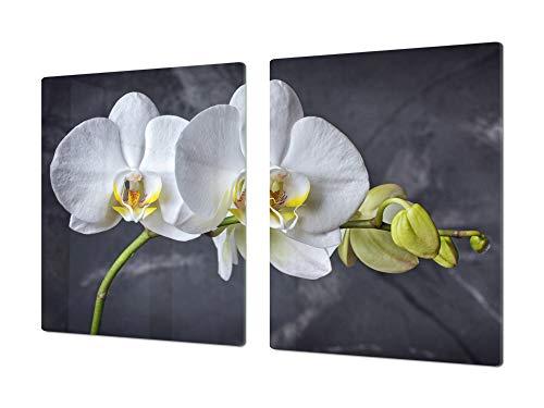 Salvaencimera Extra-Grande de vidrio templado - Conjunto de tablas para picar - Cubre Vitro Gigante – UNA PIEZA (80 x 52 cm) o DOS PIEZAS (40 x 52 cm) Serie de Flores DD06B