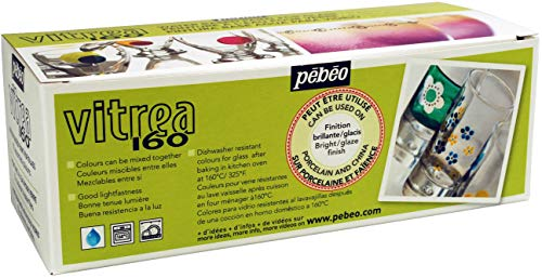 Pebeo Vitrea 160 Glossy Glass Paint - Set of 10 Assorted Colors