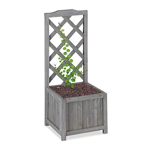 Relaxdays Enrejado de jardín con macetero, Madera de Abeto, 20 L, 90 cm, Gris, M