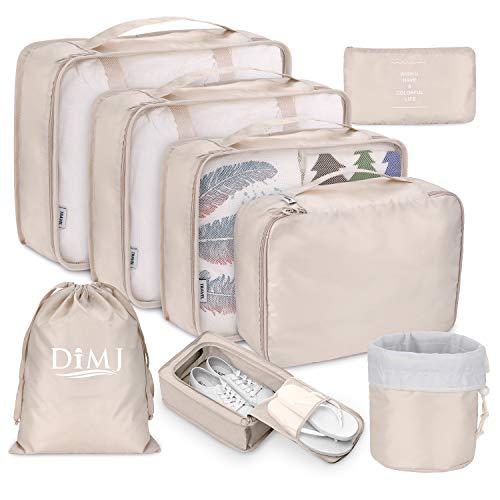 DIMJ - Organizer per valigia, cubici, da viaggio, set di 8, sacchetti per valigia per vestiti, scarpe e cosmetici Beige Beige 1