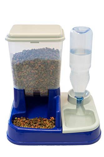 Leobella mechanischer Futterspender Trockenfutterspender Futterportitionierung Futterautomat 2in1 Wassertränke Wasserspender für Hunde Katzen Yummybar