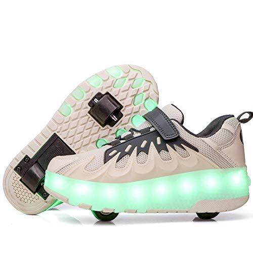 LED Zapatillas con Luces Ruedas Automática Retráctiles Ruedas Ajustables Zapatos de Skate Roller Deportivos Zapatos Luminosas Flash Patines Sneaker para Niños Niñas