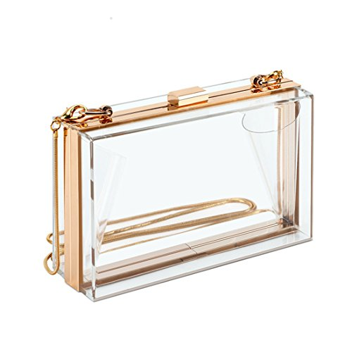 Clear Purse Bag Stadium Approved Crossbody Box Clutch for Girls & Women, Transparent Shoulder Handbag for School Prom, Work, Sporting Events, Fest & Concert with Removable Gold Chain Strap