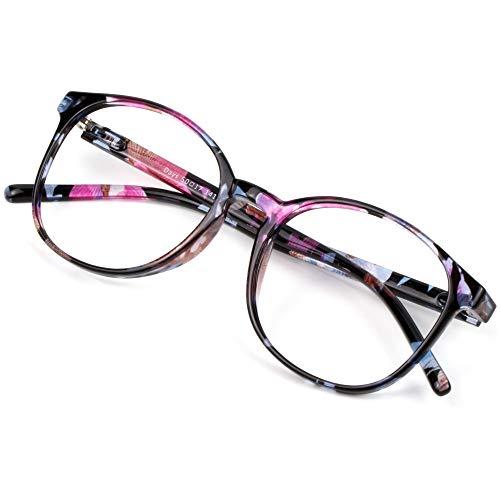 Blue Light Blocking Glasses for Women, Anti Eyestrain, Computer Reading, TV Glasses, Stylish Oval Frame, Anti UV, Anti Glare(Floral,+1.00 Magnification)