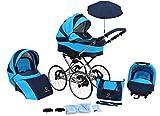 Lux4kids cochecito retro de 17'neumáticos, ruedas de radios, antipinchazos con parasol Classico Ocean 03 Silla de auto 4 en 1 + ISOFIX