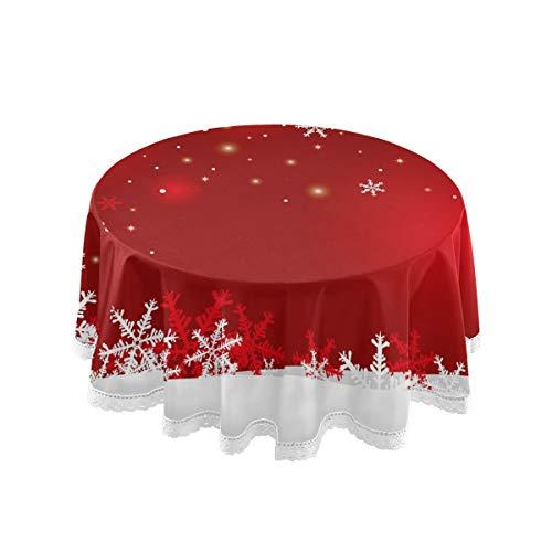 Mnsruu Nappe ronde de Noël en macramé avec flocon de neige rouge 152,4 cm