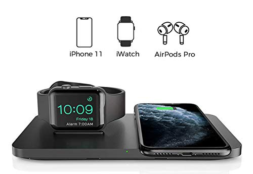Seneo Caricabatterie Wireless Doppio, Caricatore Wireless Qi 2 in 1 per iWatch Series 2/3/4/5 e AirPods 2, Ricarica Rapida Wireless da 7.5W per iPhone 11/Pro Max/XS/XR(Senza Adattatore e Cavo iWatch)