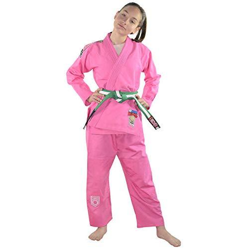 KOARENA Chita Kids BJJ Gi Kimono de Jiu Jitsu brasileño para niños Color Rosa Talla M00