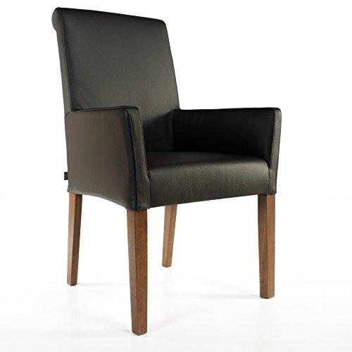 EMAN Möbelvertrieb Armlehnstuhl Galdo Leder Schwarz Beine Nussbaum | Ledersessel Lederstuhl Sessel