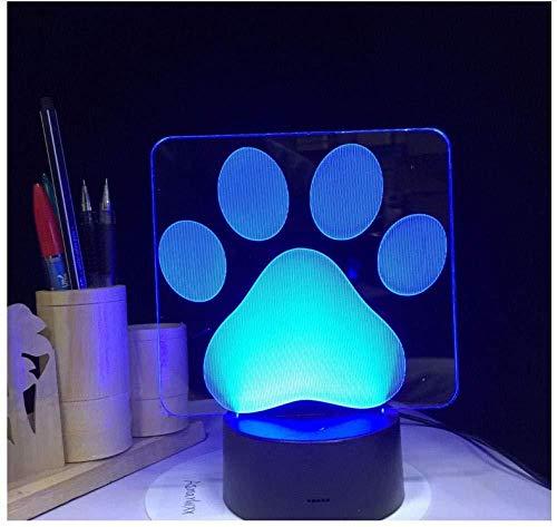 Nachtlicht Hundepfote Fußabdrücke Modellierung 3D Tischlampe Led Bunte schöne Nachtlicht Schlafzimmer Dekor USB Schlafbeleuchtung Kinder Brithday Geschenke