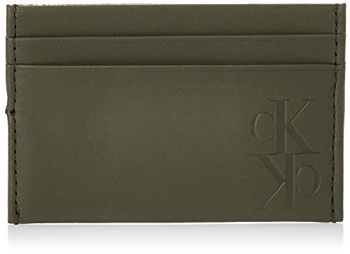 Calvin Klein - Mirror Monogram Card Case, Carteras Hombre, Verde (Dusty Olive),...