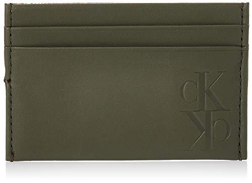 Calvin Klein - Mirror Monogram Card Case, Carteras Hombre, Verde (Dusty Olive), 0.1x0.1x0.1 cm (W x H L)