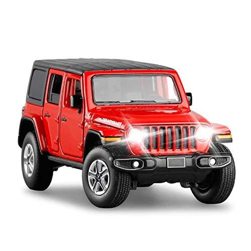 Vehículo a Escala 1/32 para Wrangler Sahara Modelo ALOYA Muelle MUESTRO TOCULAR GURANDO A LA Viaje A LA LUZ DE Sonido DE ABSORTE DE AFORTE DESPUÉS del VEHÍCULO DE Juguetes DE LA Madera (Color : Red)