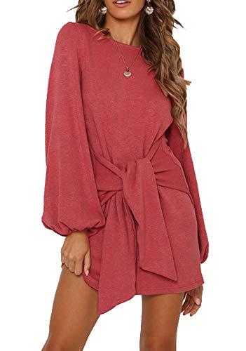 R.Vivimos Women's Autumn Winter Cotton Long Sleeves Elegant Knitted Bodycon Tie Waist Sweater Pencil Dress (Large, Watermelon Red)