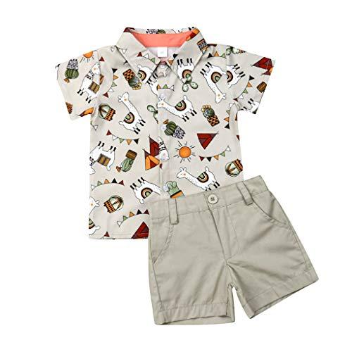 Allence Kleinkind Baby Junge Kurzarm Gentleman T-Shirt Tops + Shorts Outfits Fliege Umlegekragen Shirt Einfarbig Freizeit Shorts Mit Tasche Leaf Blumig Party Freizeitanzug