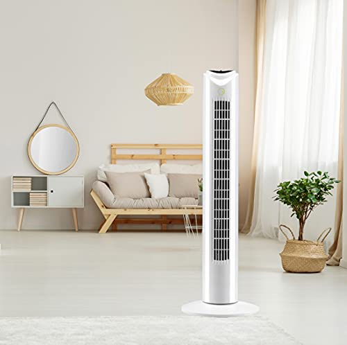 EG 32' White 3 Speed Oscillating Remote Control Tower Fan (Remote Control)