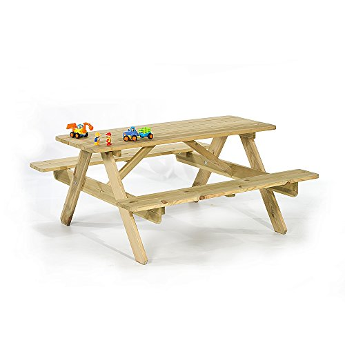 BrackenStyle Children's Picnic Table - Garden Play Bench Curved Edges For...
