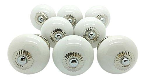 8 x Weiß rund Keramik Türknauf, Vintage Shabby Chic Schrank Schublade Pull Griffe