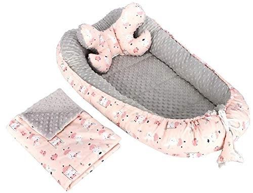 3tlg Babynestchen Babykokon 2seiting MINKY Kokon Nest Babynest + Decke Kissen (Rosa Kaninchen auf einer Schaukel/Grau)