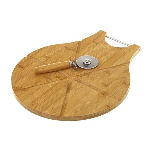 Tagliere per Pizza con Rotella tagliapizza in metallo 38 x 32 x 1,50 cm, tagliere 6 x 17,50 cm, legno di bambù, tagliere rotondo