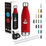 Baomay Botella Agua Acero Inoxidable Termo 750ml - Doble Aislamiento Frascos Termica para Niños, Bici Deporte, Gimnasio, Oficina | Reutilizable Botella Térmicos Frio Sin BPA (Columna roja)