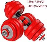 LAMTON Ajustable con Mancuernas de Fitness con Mancuernas Set Galvanizado Home Fitness Equipment Ajustable Peso Barra Conjunto (tamaño : A Pair of 15 kg)