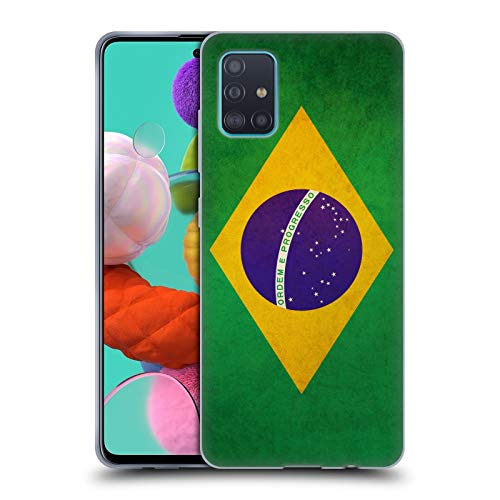 Head Case Designs Brasilien Brasilianisch Vintage Fahnen Soft Gel Handyhülle Hülle Huelle und Passende Designer Hintergrundbilder kompatibel mit Samsung Galaxy A51 (2019)