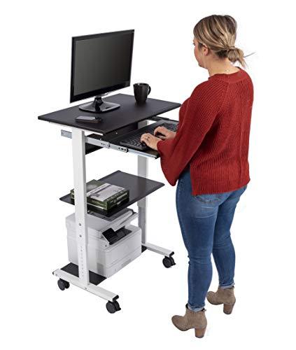 Mobiler ergonomischer Stand-up-Computerschreibtisch (Schwarz/Weiß, Schreibtisch Länge: 75cm)