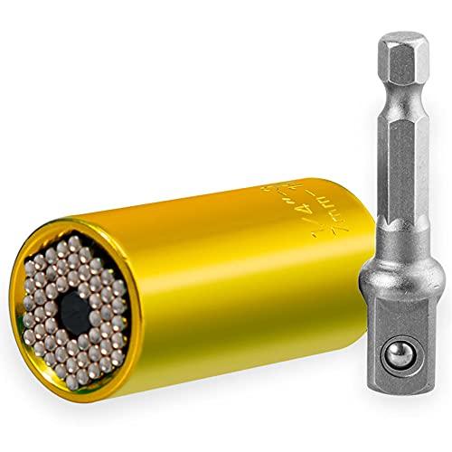 POMNEFE Universal socket, universal socket set 7-19mm, multifuncional zócalo universal, zócalo portafolio herramientas de mano operado, regalos para hombres
