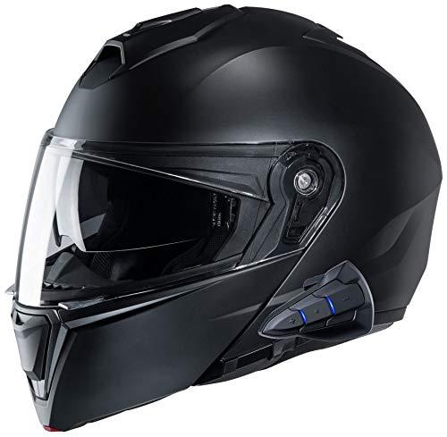 HJC i90 Modular Motorcycle Helmet With Sena 10B Bluetooth Headset SF Black 3X-Large