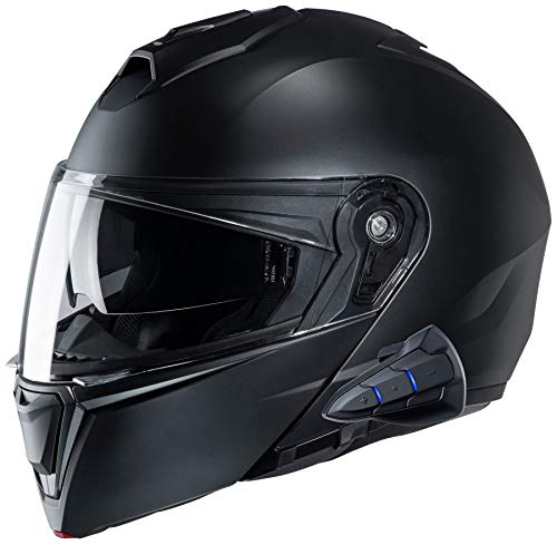 HJC i90 Modular Motorcycle Helmet With Sena 10B Bluetooth Headset SF Black Large