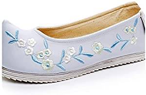 Flower Embroidered Women's Slip on Canvas Ballet Flats Vintage Arch Toe Ladies Comfort Costume Shoes Ballerines