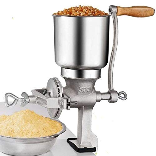 Hand Operated Corn Grain Mill Grinder Useful Kitchen Tool with Big Hopper – Adjustable for Corn, Coffee. Food, Wheat, Oats, Nut, Herbs, Spices, Seeds Grinder – Great for Restaurants, Commercial Kitchens, Bakery, Home Cook