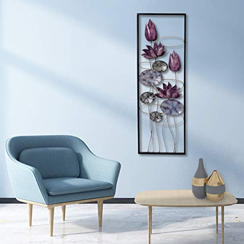 New All American Collection Flower and Leaves Aluminum/Metal Wall Decor with Frame 12'x36' (Purple Flowers)