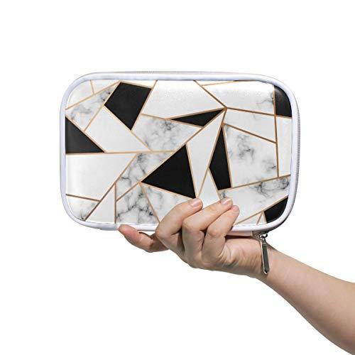 CPYang Federmäppchen mit Marmor-Design, geometrische Linien, Reißverschluss, Kosmetiktasche, Make-up-Pinsel, Schreibwaren, Stiftebox, Reisepass, Organizer-Tasche