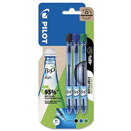 Pilot 2042B3 B2P - Bolígrafo, 3 unidades, color negro, azul y verde