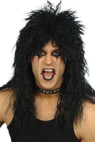 Pour Hommes Femmes Noir Blond Des années 80 Rockeur Métal Lourd Slash Kiss Punk Déguisement PERRUQUE - Noir
