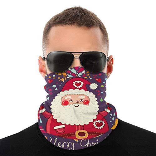 JONINOT Divertente Babbo Natale Unisex Sciarpa per il viso Bandana Anelli per le orecchie Viso Rave Passamontagna Uomo Donna Ghette per il collo per polvere Vento Copertura per moto UV