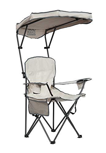 Quik Shade Max Shade - Silla de campamento plegable alta y ancha con toldo de protección solar UV inclinable - color caqui/gris
