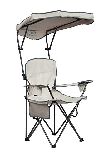 Quik Shade Max Shade High and Wide Folding Camp Chair with Tilt UV Sun Protection Canopy - Khaki/Gray