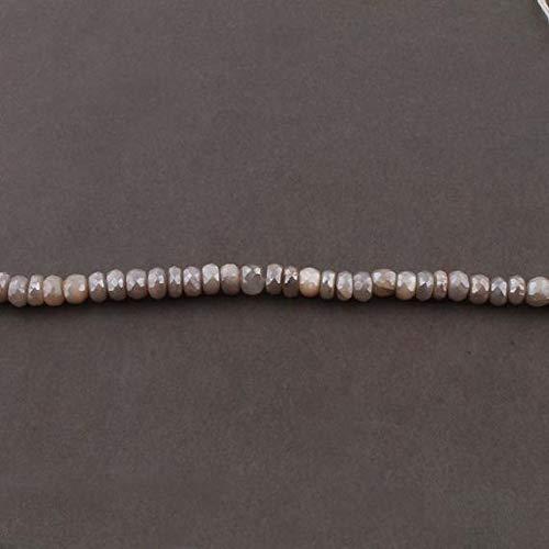 LKBEADS 1 hebra natural de piedra lunar gris con revestimiento de plata facetadas Rondelles – Cuentas redondas de 7 mm-8 mm 35,5 cm Código HIGH-12373