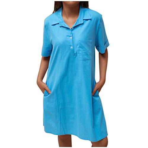 URIBAKY Frauen Stehkragen T-Shirt Kleider Damen Casual Taschekleider Sommerkleid Oversize Kurzarm mit V-Ausschnitt Asymmetrischem Urlaub,Strandkleider Minikleider