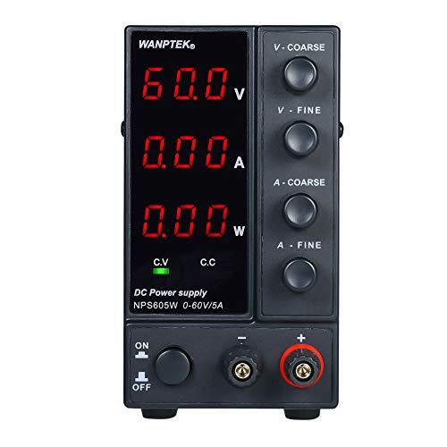 KKmoon Fuente de alimentación de CC de conmutación NPS605W 0-60V 0-5A Pantalla de 3 dígitos LED de alta precisión Mini fuente de alimentación ajustable CA 115V / 230V 50 / 60Hz