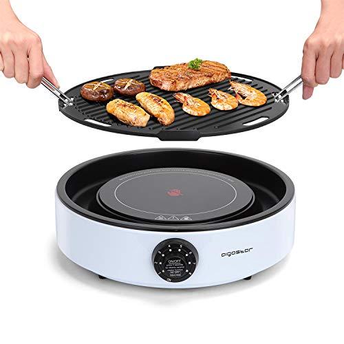 Aigostar foodie, griglia elettrica barbecue senza fumo, fornello elettrico portatile, 2 in 1, griglia smontabile, 2000 Watt, 8 livelli di potenza.